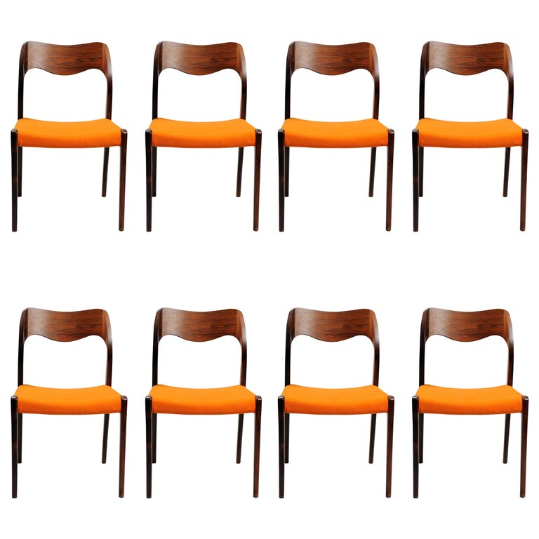 1960s Niels Otto Møller Set of Eight Model 71 Dining Chairs in Rosewood