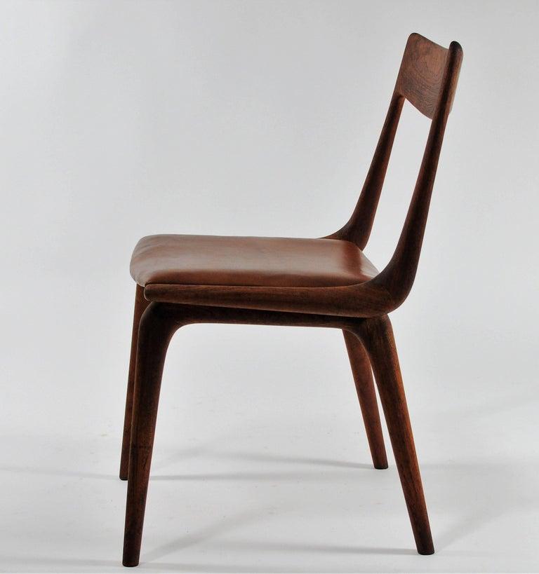Scandinavian Modern 1950s Set of Six Reupholstered Alfred Christensen Boomerang Chairs in Teak