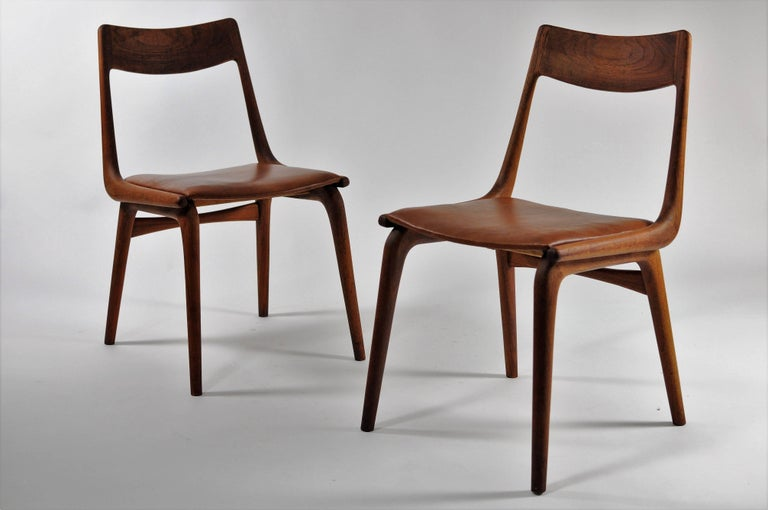 Mid-20th Century 1950s Set of Six Reupholstered Alfred Christensen Boomerang Chairs in Teak