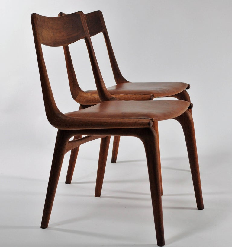 Leather 1950s Set of Six Reupholstered Alfred Christensen Boomerang Chairs in Teak