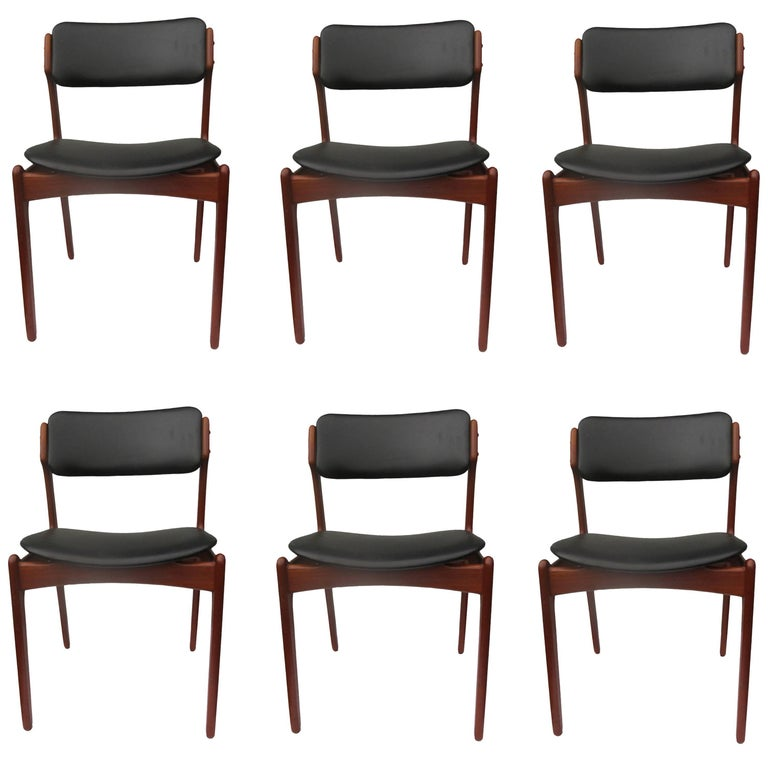 1960s Erik Buch Set of Six Teak Dining Chairs - Choice of Upholstery For Sale