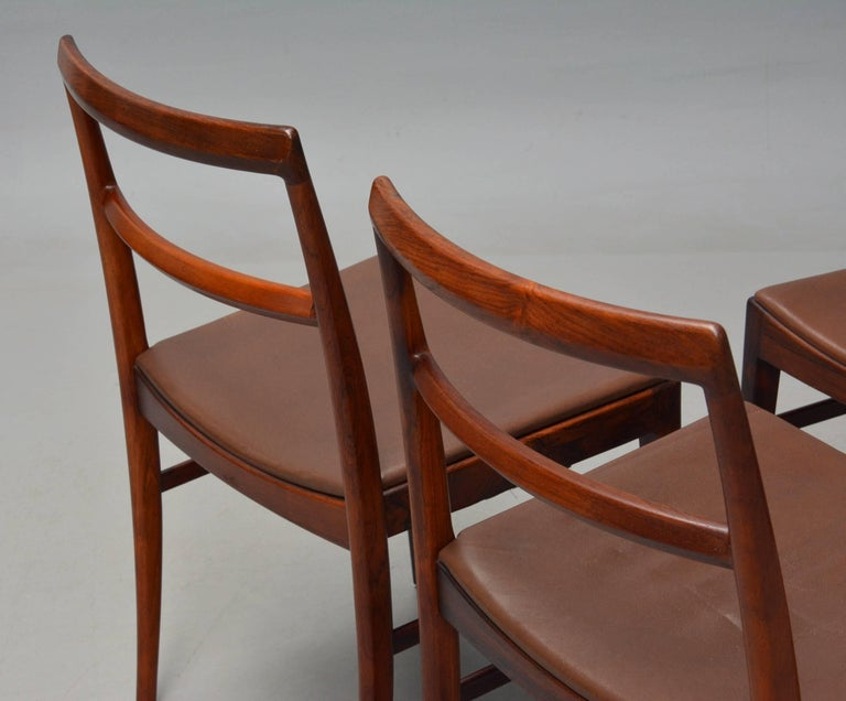 Danish 1950s Arne Vodder Rosewood Dining Chairs, Inc. Reupholstery For Sale