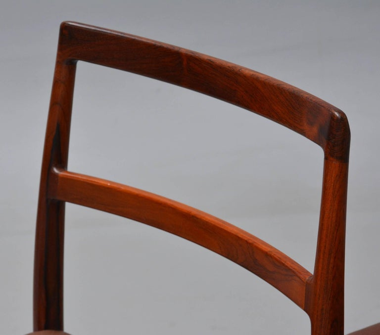1950s Arne Vodder Rosewood Dining Chairs, Inc. Reupholstery In Good Condition For Sale In Knebel, DK