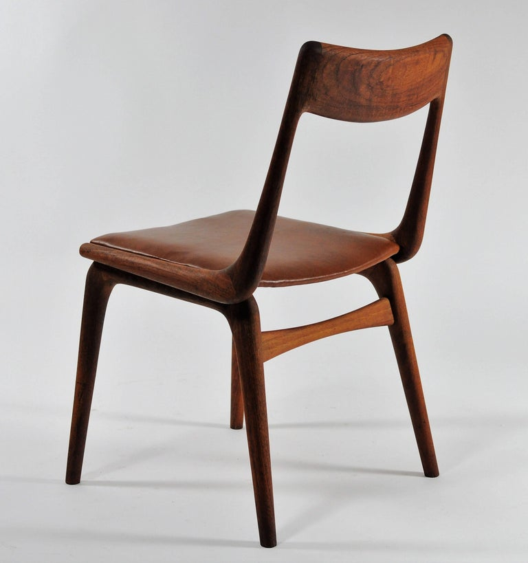 Six Danish Alfred Christensen Refinished Chairs in Teak, Inc. Reupholstery In Good Condition For Sale In Knebel, DK