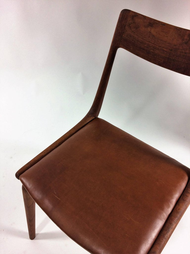 Six Danish Alfred Christensen Refinished Chairs in Teak, Inc. Reupholstery For Sale 4
