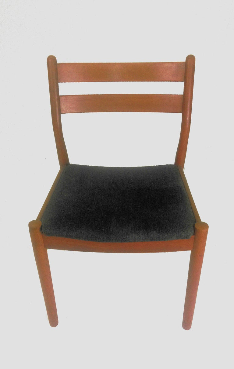 Set of 6 ladder back dining chairs in oak designed by Poul Volther for FDB Møbler - Sorø Stolefabrik.  The frames of the chairs have been overlooked by cabinetmaker and are in very good condition. The chairs will be reupholstered with fabric of