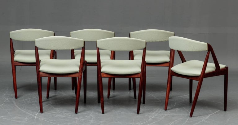 1960s Six Kai Kristiansen Model 31 Dining Chairs In Rosewood Mint Green Fabric For Sale At 1stdibs
