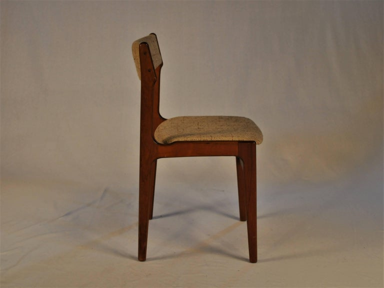 Danish 1960s Erik Buch Set of Six Dining Chairs in Teak and Fabric For Sale