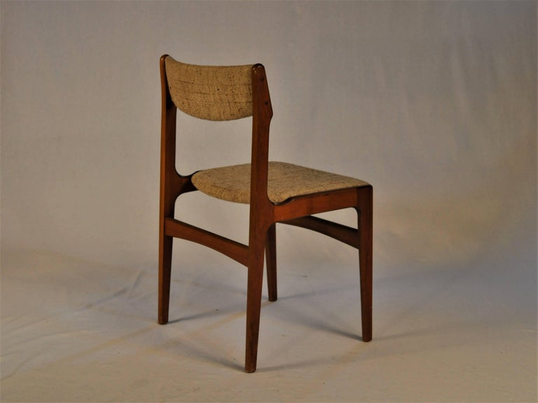 Woodwork 1960s Erik Buch Set of Six Dining Chairs in Teak and Fabric For Sale