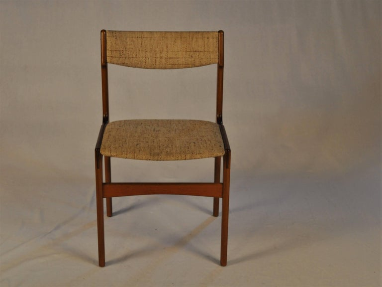 Set of six teak dining chairs designed by Erik Buch.  The chairs are as all of Erik Buchs chairs confortable and are in very good condition.  The chairs have been overlooked and refinished by our cabinetmaker to ensure that they are in very good
