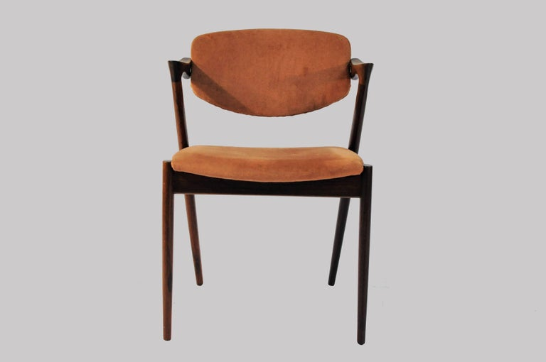 Scandinavian Modern 1960s Kai Kristiansen Set of Six Model 42 Dining Chairs in Rosewood For Sale