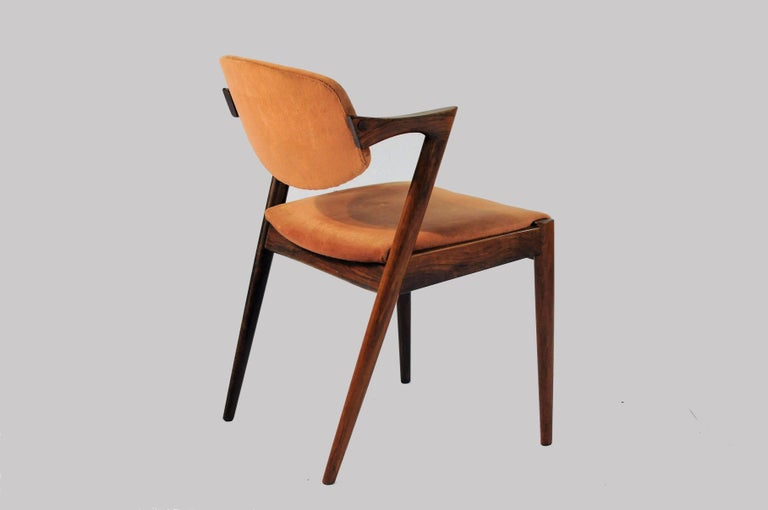 Woodwork 1960s Kai Kristiansen Set of Six Model 42 Dining Chairs in Rosewood For Sale