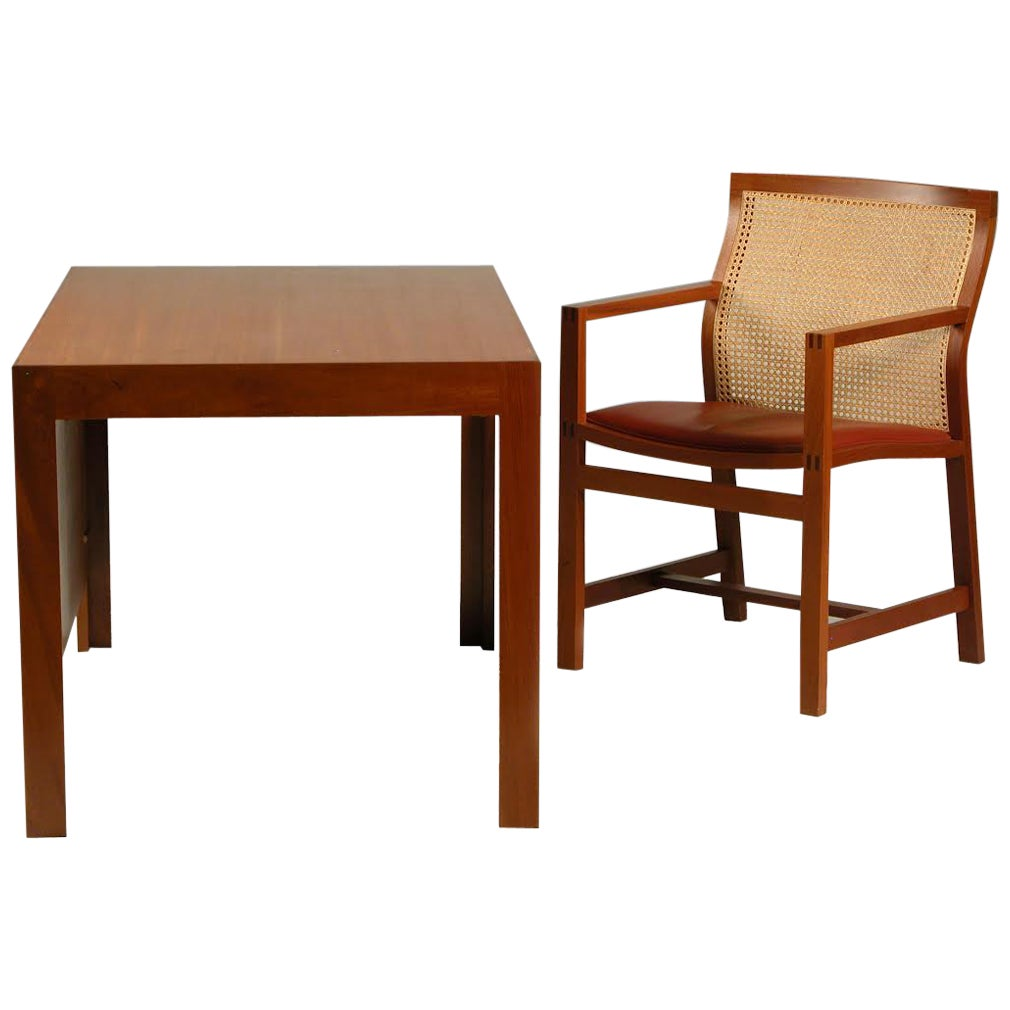 1980s Rud Thygesen and Johnny Sørensen Desk and Chair, Mahogany and Red Leather