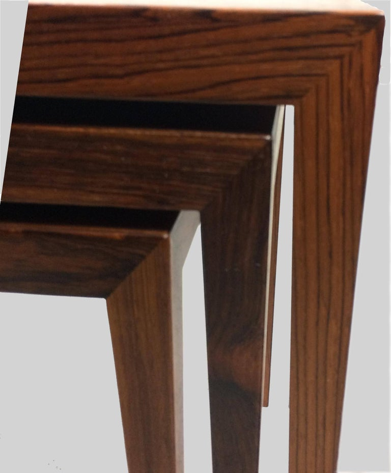 Danish 1960s Severin Hansen Set of Nesting Tables in Rosewood by Haslev Mobelsnedkeri For Sale