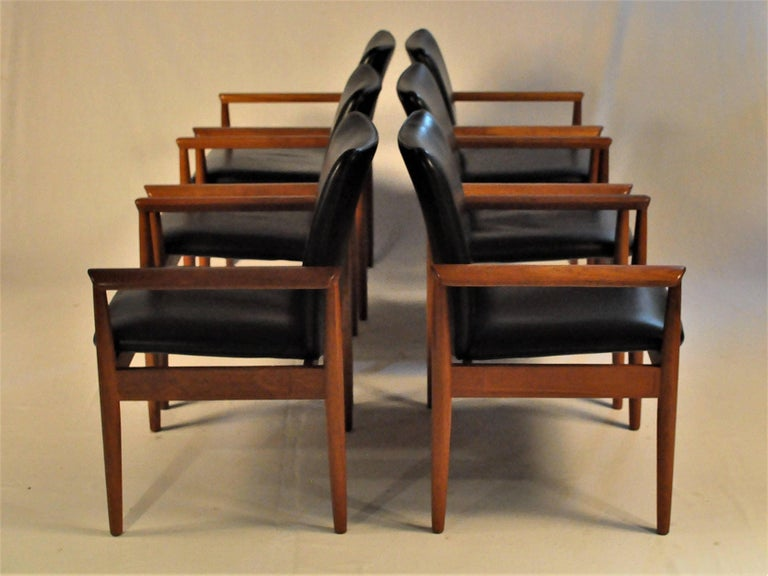 Woodwork 1960s Finn Juhl Set of Six Model 209 Diplomat Chair in Teak and Leather by Cado For Sale