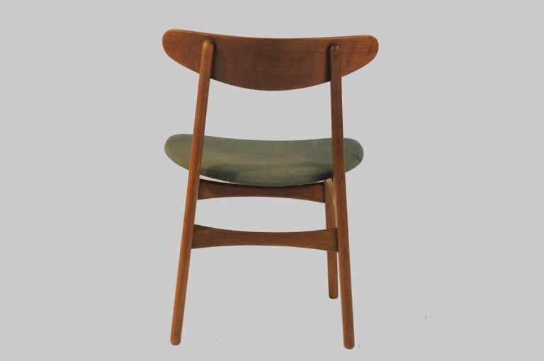 1950s Set of Six Hans Wegner Dining Chairs CH30 in Oak, Teak and Green Fabric 1