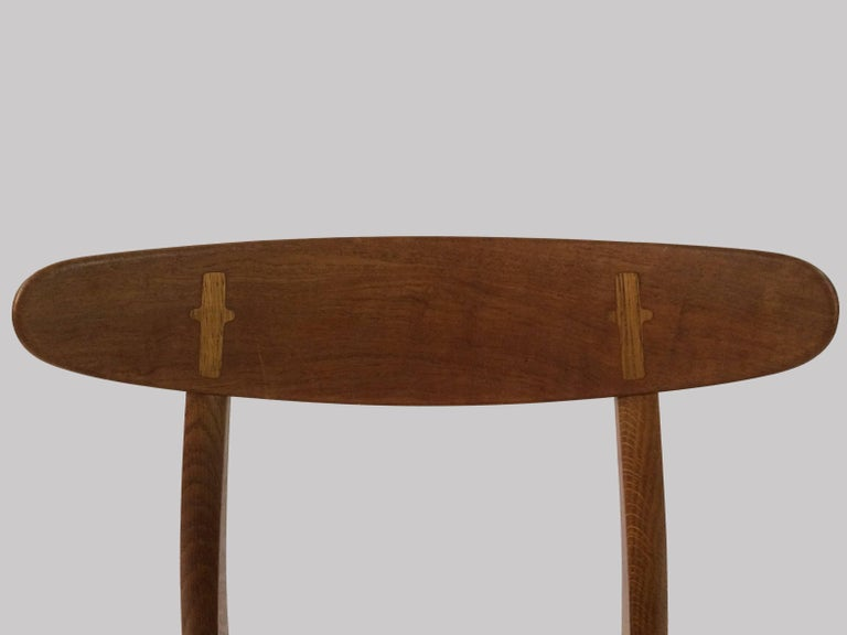 1950s Set of Six Hans Wegner Dining Chairs CH30 in Oak, Teak and Green Fabric 2