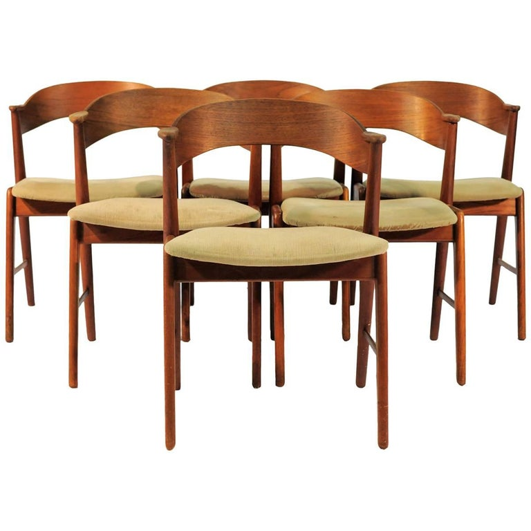 1960s Set of Six Danish Teak Dining Chairs Known as Model 32
