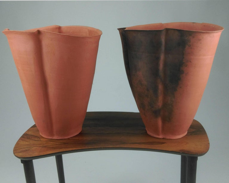 Rare Set Of Two Svend Hammershi Large Unglazed Earthenware Vases