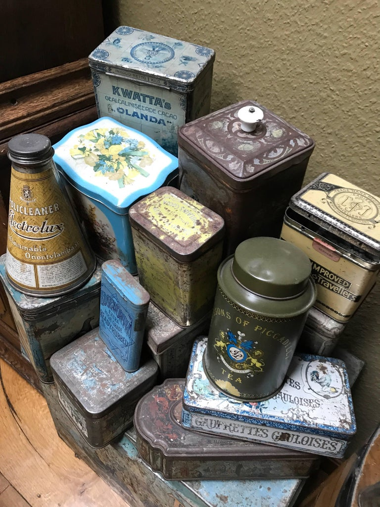 Late Victorian Collection of Tins and a Tin Duck circa 1900 Total 27 Items