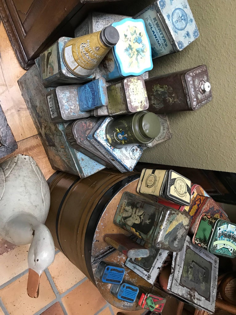 Belgian Collection of Tins and a Tin Duck circa 1900 Total 27 Items