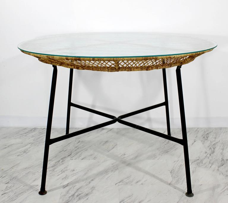 Mid-Century Modern Danny Fong Tropical Bamboo Rattan Iron Patio Table Two Chairs For Sale 1