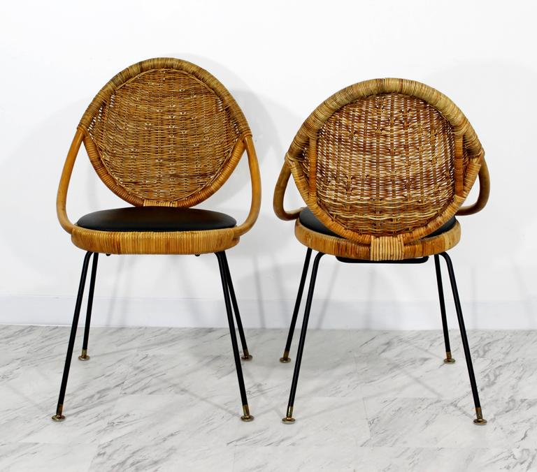 Mid-Century Modern Danny Fong Tropical Bamboo Rattan Iron Patio Table Two Chairs In Good Condition For Sale In Keego Harbor, MI