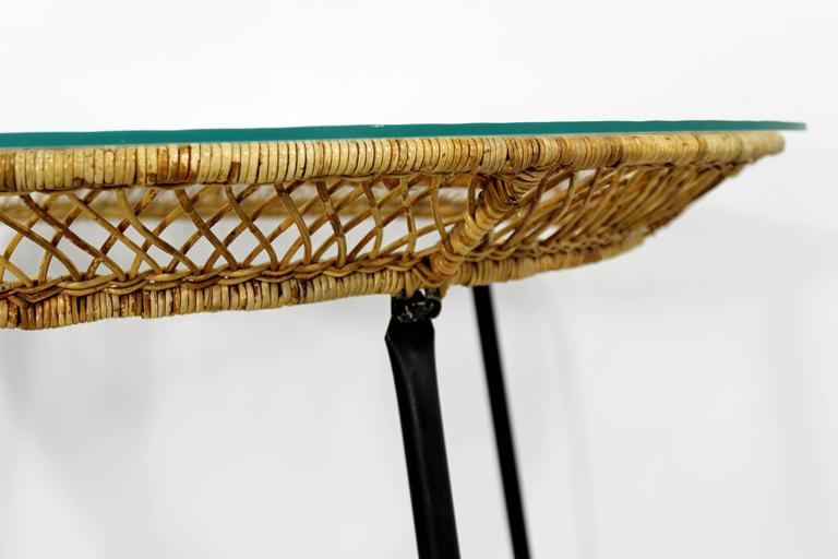 Mid-Century Modern Danny Fong Tropical Bamboo Rattan Iron Patio Table Two Chairs For Sale 2