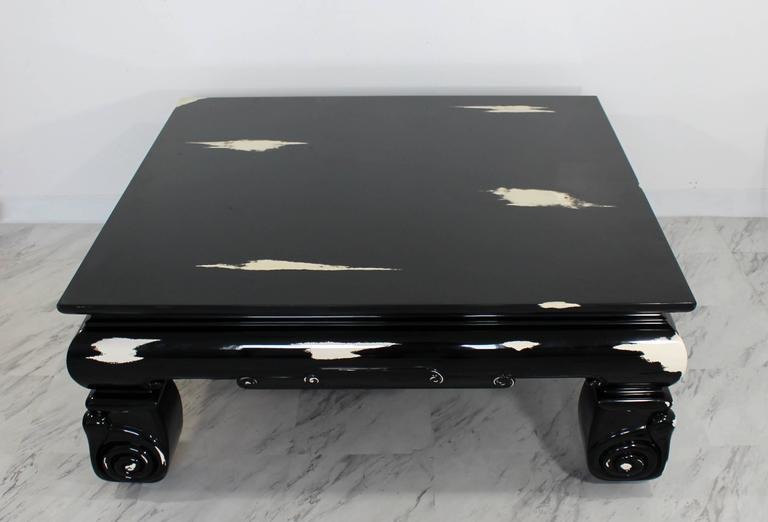 "For your consideration is an oversized, square coffee table, with a black lacquer, palomino print, Karl Springer style. In excellent condition. The dimensions are 46"" Sq x 18.5"" H."