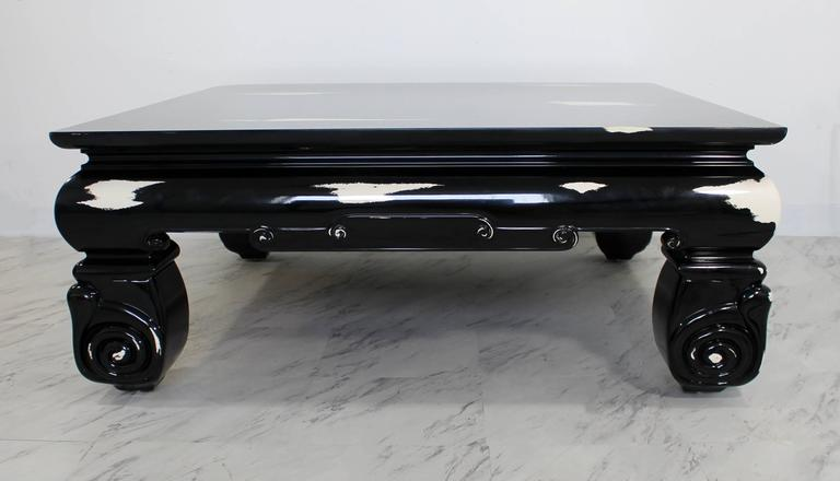 American Mid-Century Modern Large Square Coffee Table, Karl Springer Style For Sale