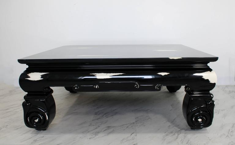 Late 20th Century Mid-Century Modern Large Square Coffee Table, Karl Springer Style For Sale