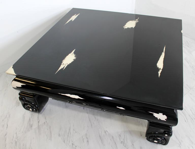 Lacquer Mid-Century Modern Large Square Coffee Table, Karl Springer Style For Sale