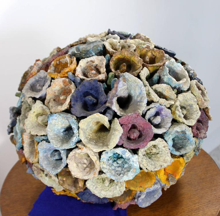 For your consideration is a beautiful, rough textured ceramic by noted Miami artist, Juanita May (1920-2013), circa 1980. A self-taught artist, May was a member and teacher at the Ceramic League of Miami. A 1963 appointment as visiting artist at the