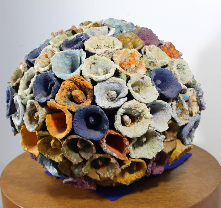American Contemporary Modern Sphere of Cones by Juanita May Textured Ceramic Sculpture For Sale