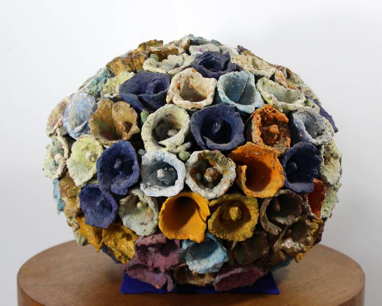 Late 20th Century Contemporary Modern Sphere of Cones by Juanita May Textured Ceramic Sculpture For Sale