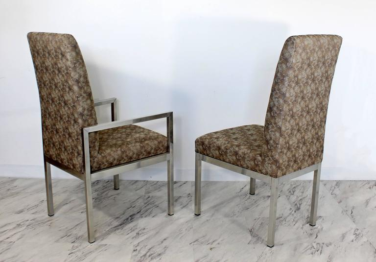 Late 20th Century Mid-Century Modern Set of Six Milo Baughman for DIA Chrome Dining Chairs For Sale