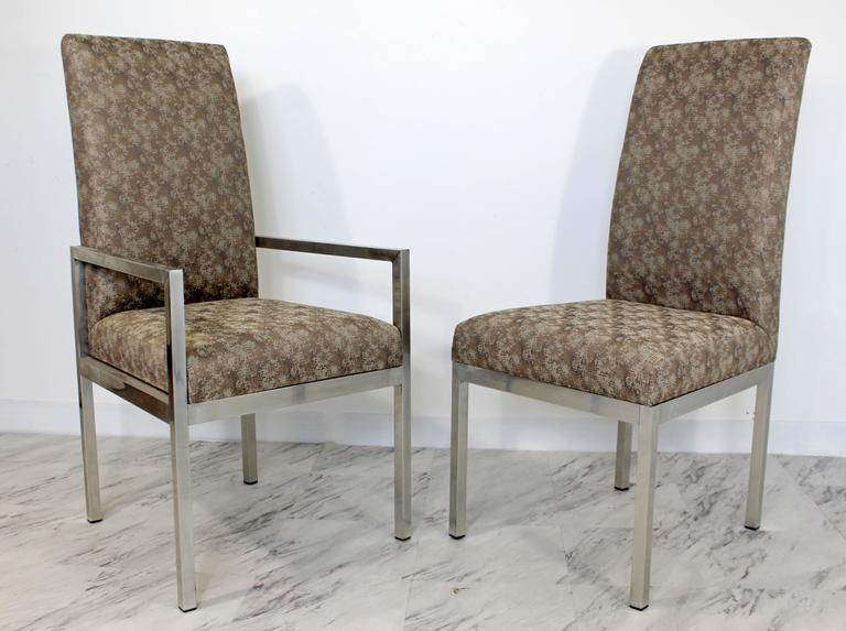 American Mid-Century Modern Set of Six Milo Baughman for DIA Chrome Dining Chairs For Sale