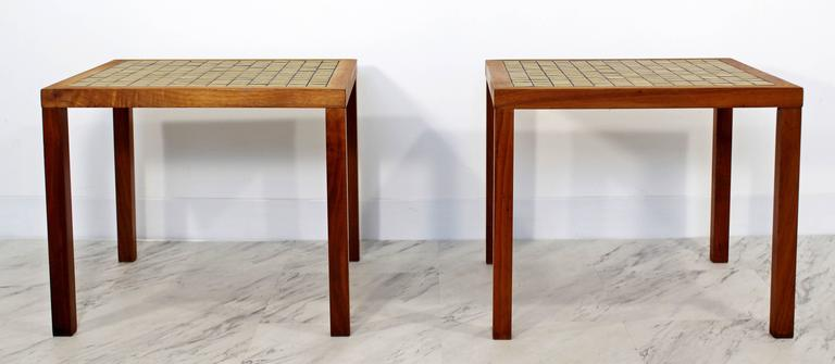 For Your Consideration Is A Simple And Beautiful Pair Of Green Tile Top  Side Tables And