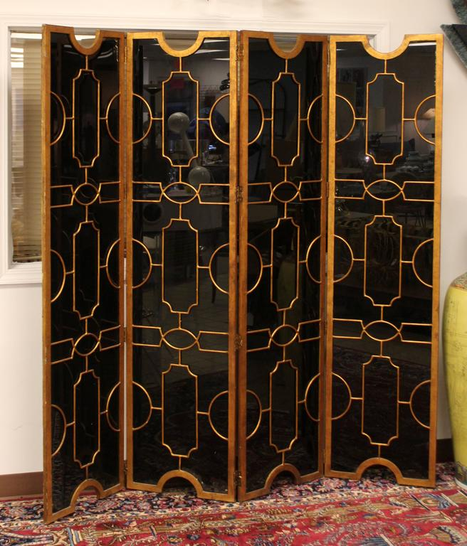 Hollywood Regency Art Deco Black Glass Bronze Folding Screen Room