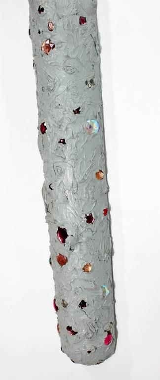 Late 20th Century Mid-Century Modern John Torreano Oil, Jewels on Wood Hanging Sculpture, 1975 For Sale