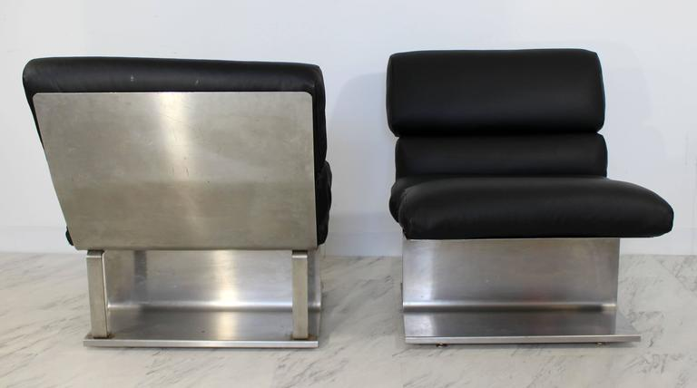 Late 20th Century Mid-Century Modern Pair of Steel Leather Lounge Chairs Paul Geoffroy Uginox For Sale