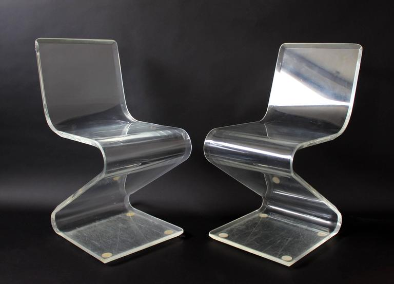 Mid-Century Modern Set of Four Lucite Z Zig Zag Chairs Hollis Jones Style, 1970s 2