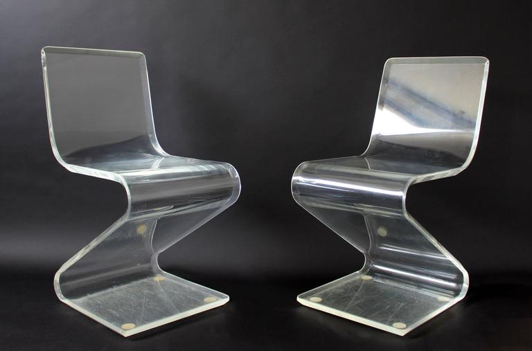 Mid-Century Modern Set of Four Lucite Z Zig Zag Chairs Hollis Jones Style, 1970s 3