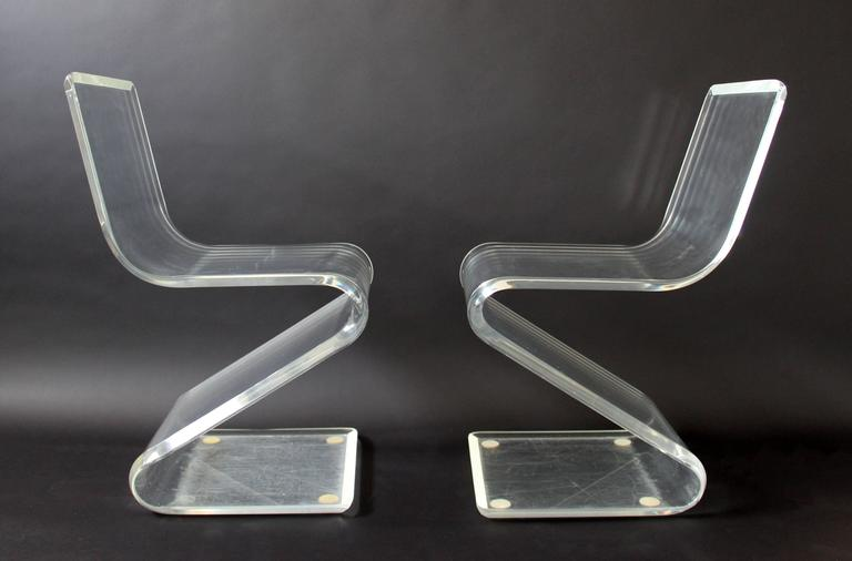 Mid-Century Modern Set of Four Lucite Z Zig Zag Chairs Hollis Jones Style, 1970s 5