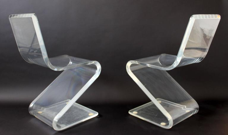 Mid-Century Modern Set of Four Lucite Z Zig Zag Chairs Hollis Jones Style, 1970s 6