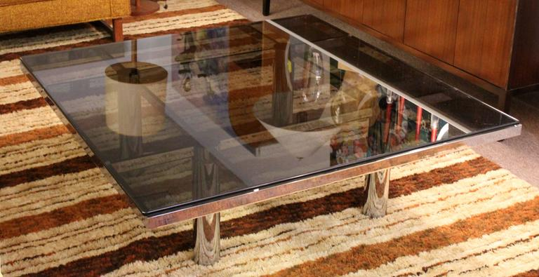 American Mid-Century Modern Tobia Scarpa Knoll Andre Chrome Smoked Glass Coffee Table For Sale