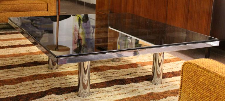 Mid-Century Modern Tobia Scarpa Knoll Andre Chrome Smoked Glass Coffee Table In Good Condition For Sale In Keego Harbor, MI