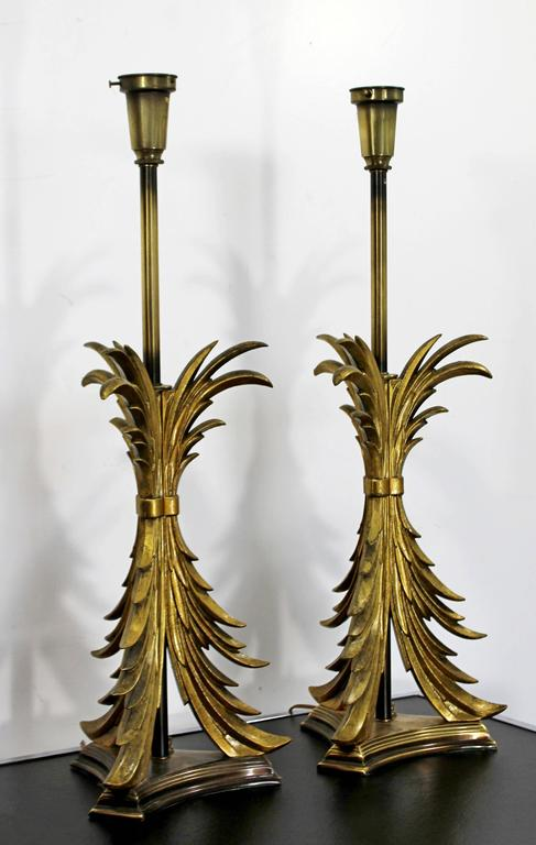 American Hollywood Regency Pair of Solid Brass Ornate Chapman Table Lamps, 1980s For Sale