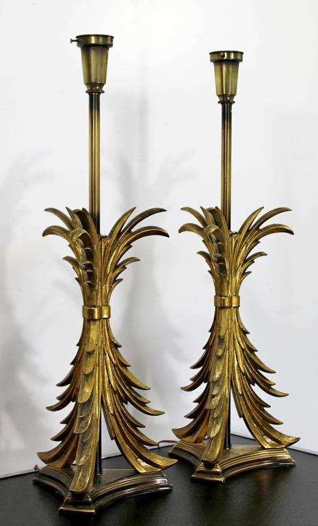 Late 20th Century Hollywood Regency Pair of Solid Brass Ornate Chapman Table Lamps, 1980s For Sale