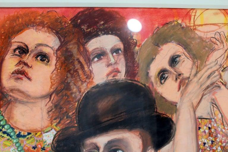 Modern Main Street #14 by Lester Johnson 1977 Mixed-Media Acrylic Oil & Crayon 2